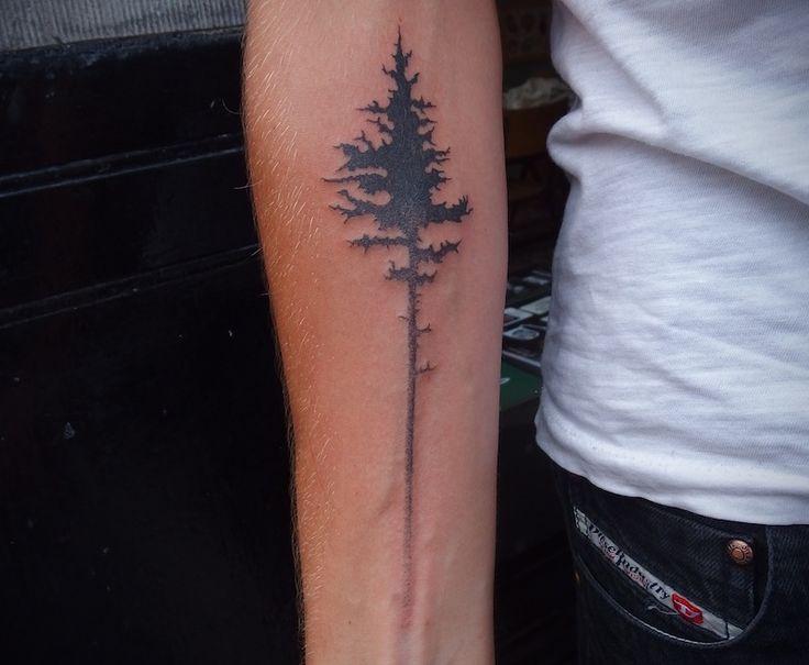 Amaizing black bird tree tattoo