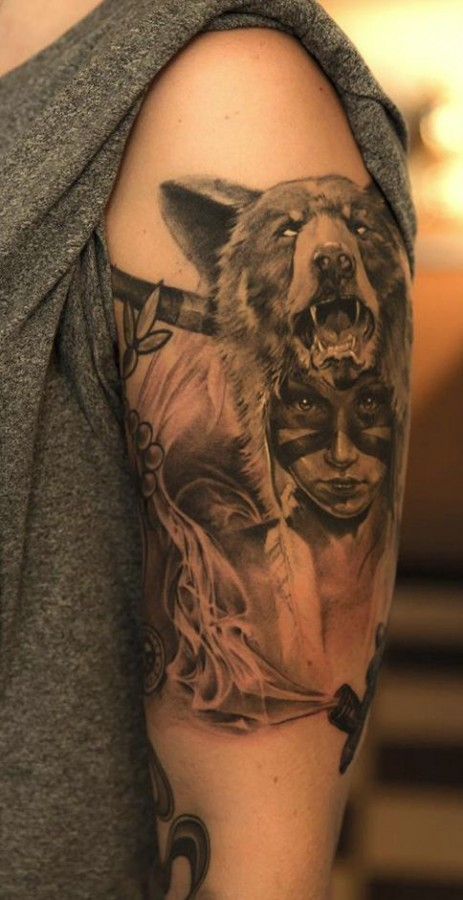 Amazing wolf and girl tattoo