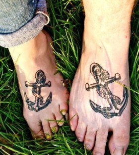 Anchor foot tattoo