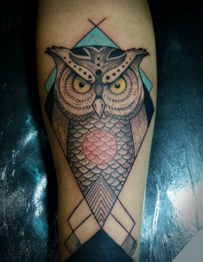 Angry owl tattoo by Tyago Silva