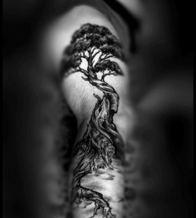 Awesome black tree tattoo