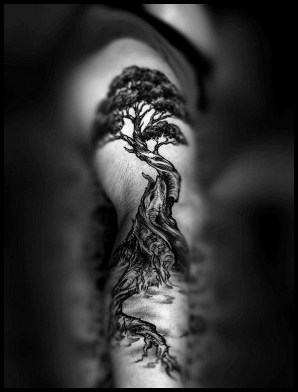 Awesome black tree tattoo