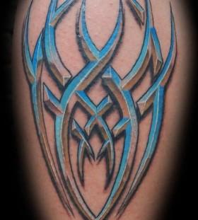 Awesome blue tribal tattoo
