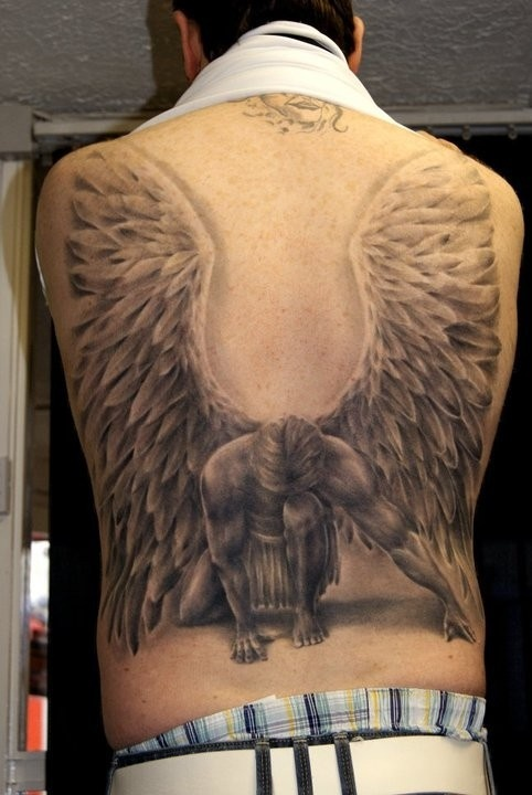 Awesome human wings tattoo