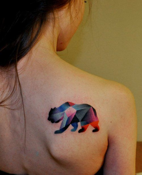 Bear watercolor tattoo