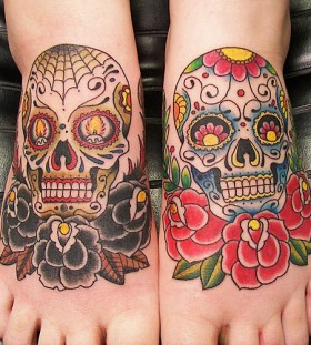 Black and red skull tattoo