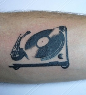 Black and white guitar tattoo