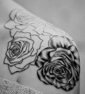 Black and white roses girl tattoo