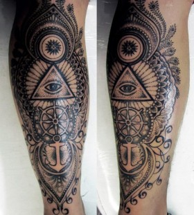 Black eyes legs tattoo