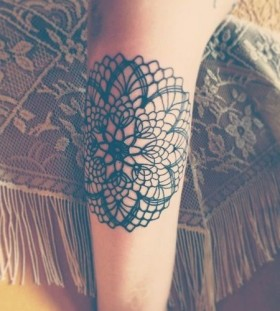 Black flowers lace tattoo