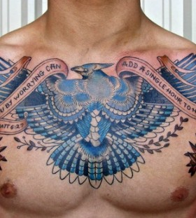 Blue bird tattoo on chest