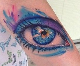 Blue eye watercolor tattoo