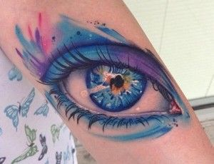 Blue eye watercolor tattoo
