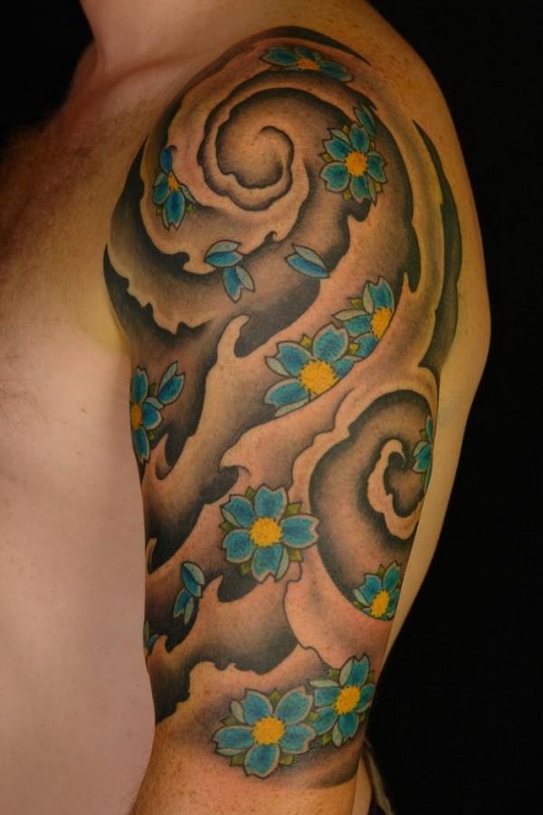 Blue flower asian tattoo