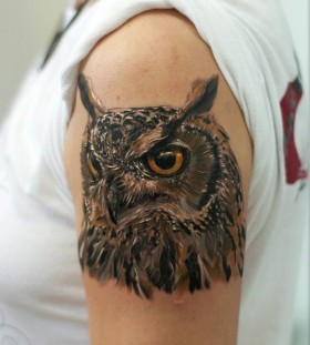Brown cute owl tattoo