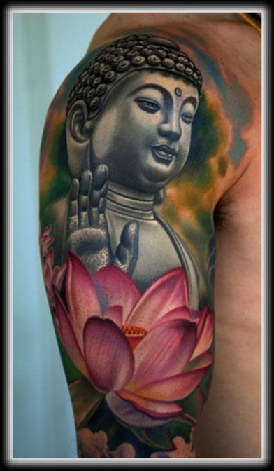 Budha and flower cool tattoo