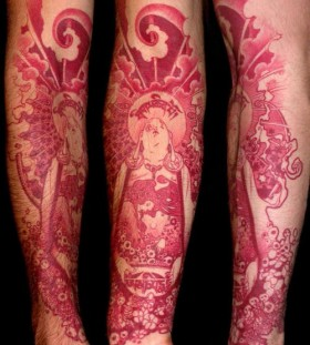 Budha red tattoo