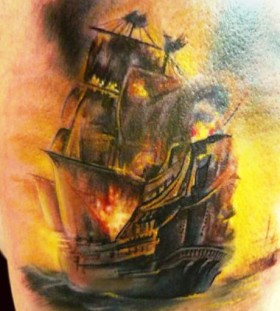 Burning ship tattoo by Adam Kremer