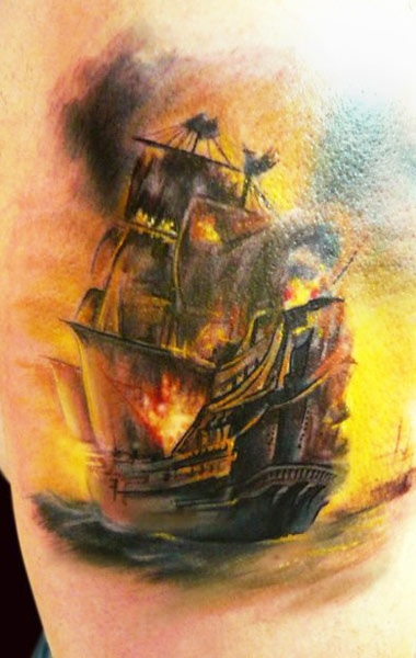 Burning Ship Tattoo By Adam Kremer Tattoomagz Tattoo