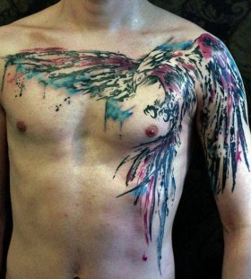 Chest colorful watercolor tattoo