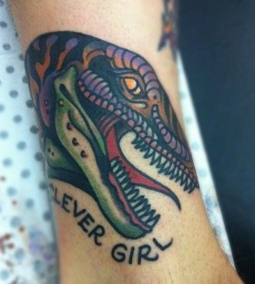 Clever girl and dinosaur tattoo