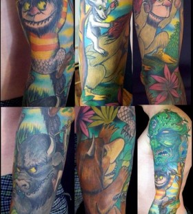 Colorful animals wild tattoo