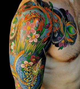 Colorful asian tattoo