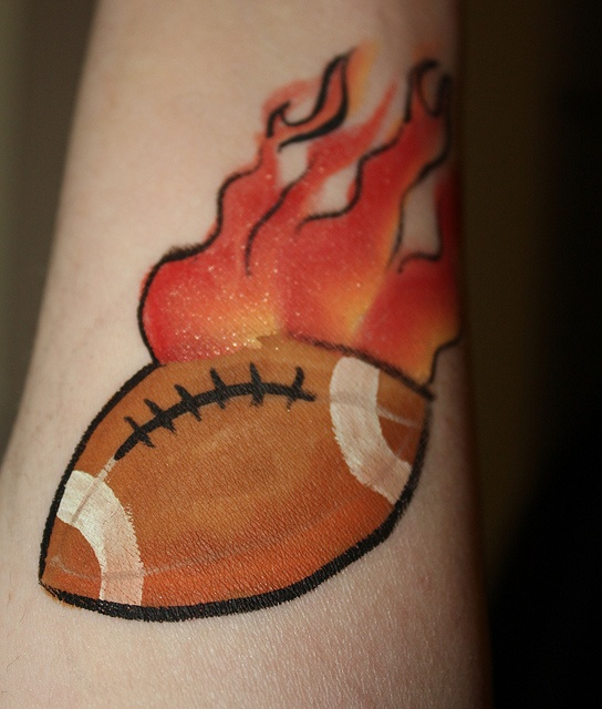 Colorful ball football tattoo