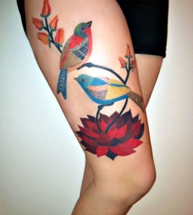 Colorful birds legs tattoo
