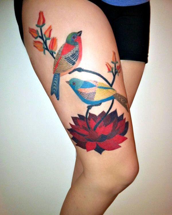 Colorful birds legs tattoo