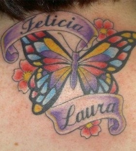 Colorful butterfly wings tattoo
