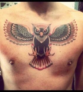 Colorful chest owl tattoo