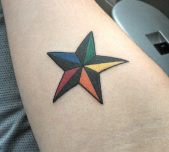 Colorful great star tattoo