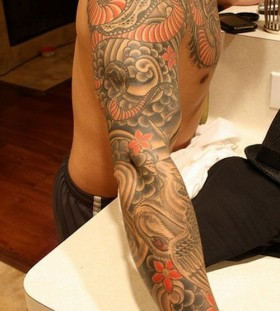 Colorful hand dragon tattoo