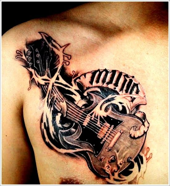 Cool men's guitar tattoo