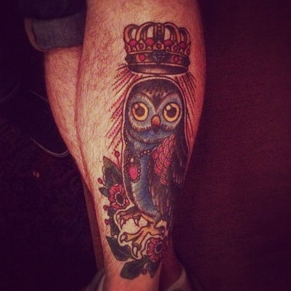 Crown and blue owl tattoo