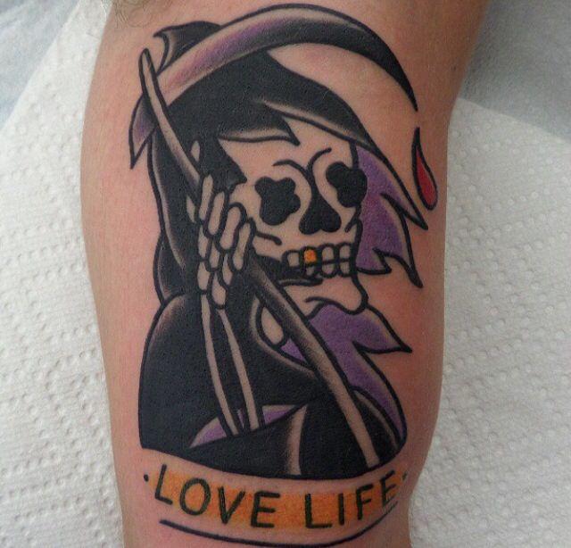 Cruel skull tattoo by Dustin Barnhart