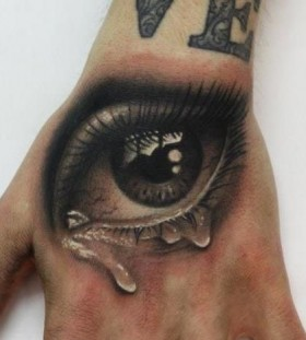 Crying eye realistic tattoo