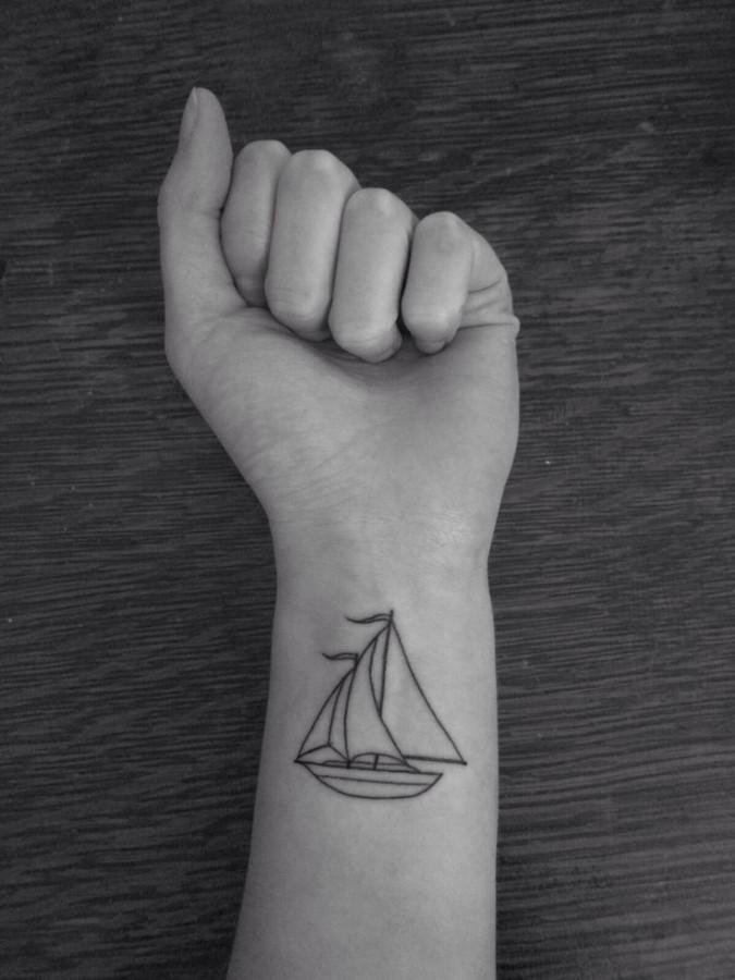 Cute wrist ship tattoo