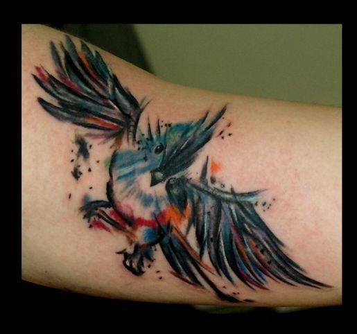 Dark owl watercolor tattoo