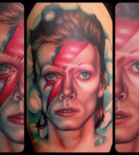 David Bowie famous people portrait tattoo