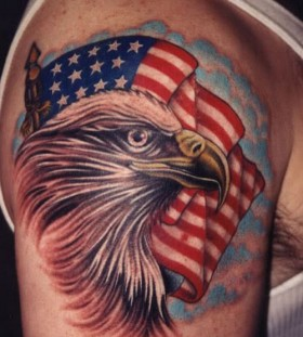 Eagle and flag american style tattoo