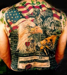 Eagle and military style tattoos
