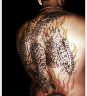 Fire and dragon tattoo