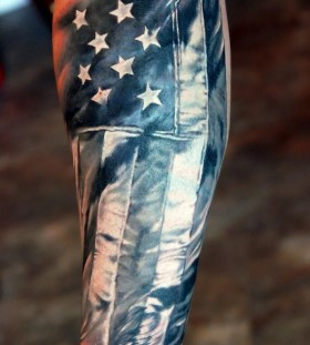 Flag and stars american style tattoo