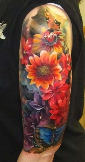 Flower and clock watercolor tattoo