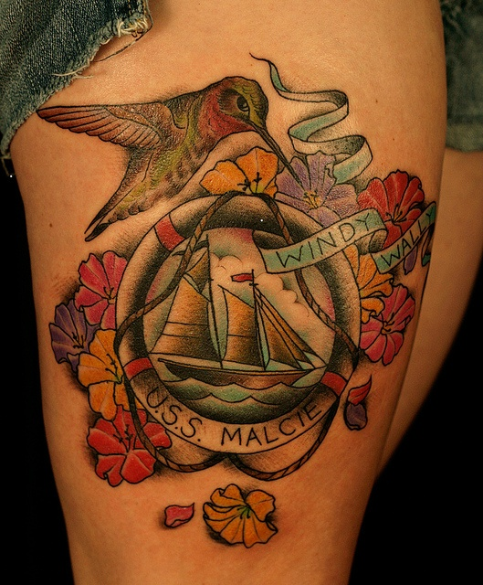 Flowers, birds and ship tattoo