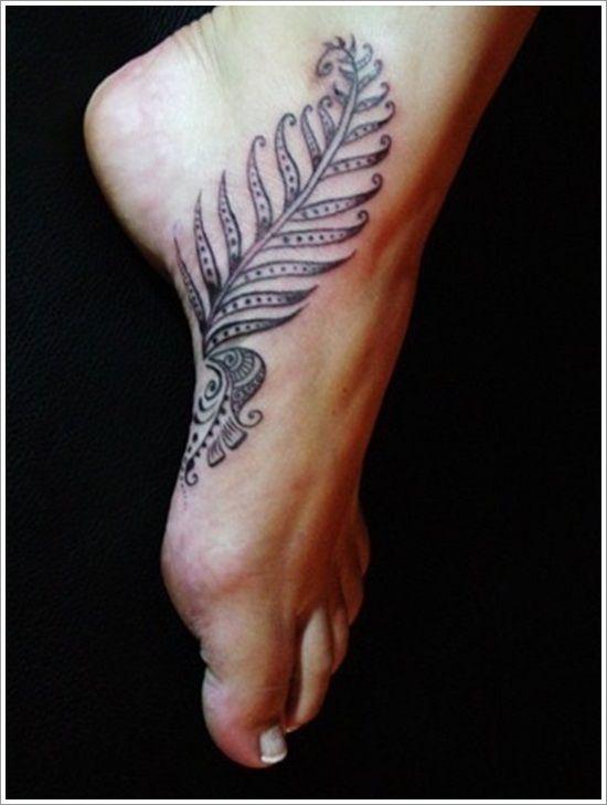 Foot leaf tattoo
