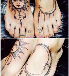 Foot sun and moon tattoo