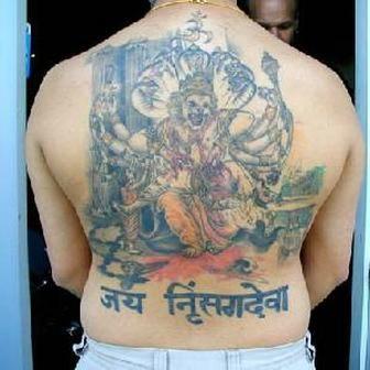 Full back asian tattoo